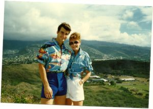 Gordon and Julie atop Diamond Head 1986