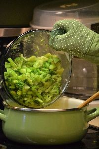 adding the cooked broccoli_small