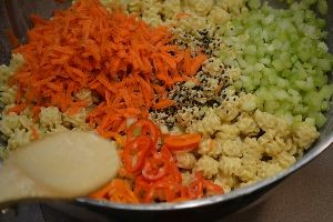combing all the pasta salad ingredients and mixing together_small