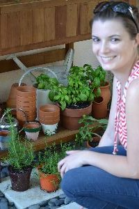 Veronica getting her herbs for her kitchen_small