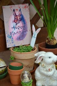 Happy Easter on the potting bench_small